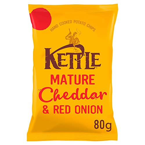 Kettle Crisps - Mature Cheddar Cheese & Red Onion - British Potato Chips - No Artificial Colours or Preservatives - 80g Bag