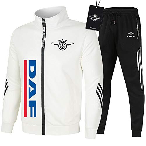MAUXpIAO de Los Hombres Chandal Conjunto Trotar Traje D.A-F Hooded Zipper Chaqueta + Pantalones Sudadera Baloncesto Ropa Niños/Blanco/L