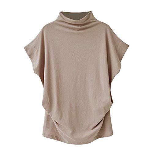 iHENGH Damen Top Bluse Bequem Lässig Mode T-Shirt Frühling Sommer Blusen Frauen Rollkragen Kurzarm Baumwolle Solide Casual Top(Khaki, L)