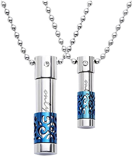 KUNHAN Collar Colgante Bolsa de Bola Botella ABIERTE SÓLO Amor con Rhinestone Rhinestone Cristal Recipiente Acero Inoxidable Militar
