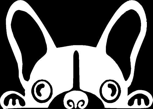 Sticker Peeking French Bulldog Decal for Car Truck Bumper Laptop Vinyl (Silver)