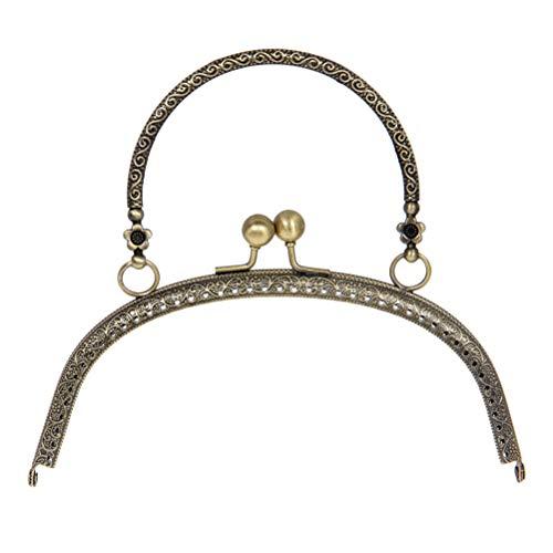Supvox Metall Geldbörse Rahmen Taschengriffe Vintage Handtasche Sperre Verschluss für DIY Basteln Tasche Machen 16,5cm (Bronze)