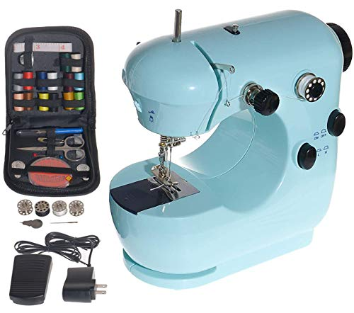 YHMY Mini Electric Sewing Machine Kit for Beginners and Kids,Tailors/Arts/Crafting/Embroidery, Home Portable Household Sewing Machine Adjustable 2-Speed Double Thread with Arm-Free, Foot Pedal (Blue)