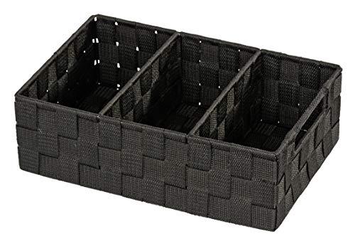 WENKO Organizador Adria con manilla negro - organizador Baño, Polipropileno, 32 x 10 x 21 cm, Negro