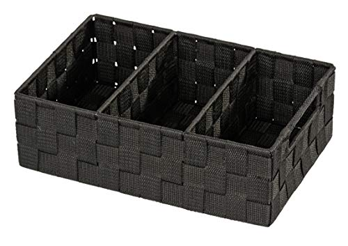 WENKO Organizer Adria, Aufbewahrungskorb mit 3 Fächern und praktischem Griff, feste Trennwände, hochwertiges Kunststoffgeflecht mit Metallstangen für extra Stabilität, 32 x 10 x 21 cm, Schwarz