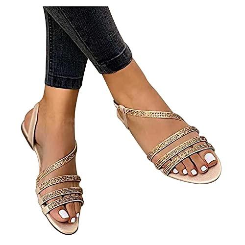 Orgrul Sandalias Mujer Verano 2021, Chanclas Mujer Verano Plana, Estilo Bohemia Sandalias Cómodo Casual Cinta Zapatos de Playa Chanclas Romanas 35-42 EU 120F (37, B)