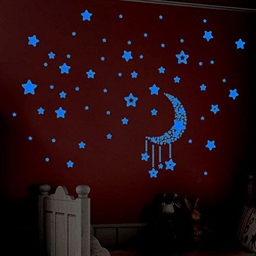 YCANK Set de pegatinas fluorescentes en estrellas que brillan en la pared de los niños en la oscuridad para dormitorio