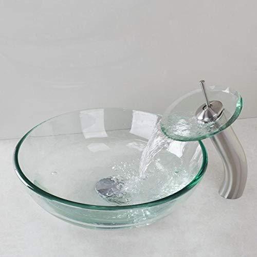 DWSS® Waschbecken Runde Nickel gebürstet Wasserfall Wasserhahn + Victory Glasschale Waschbecken Waschbecken Waschbecken aus gehärtetem Glas Bad Waschbecken Set