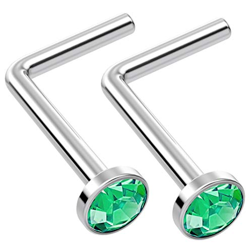 2pc L Shaped Nose Ring 18g 1mm 1mm 7mm Flesh Nostril Screw Nose Ring Crystal Hypoallergenic 316LVM Surgical Steel Stud Piercing Jewellery Emerald