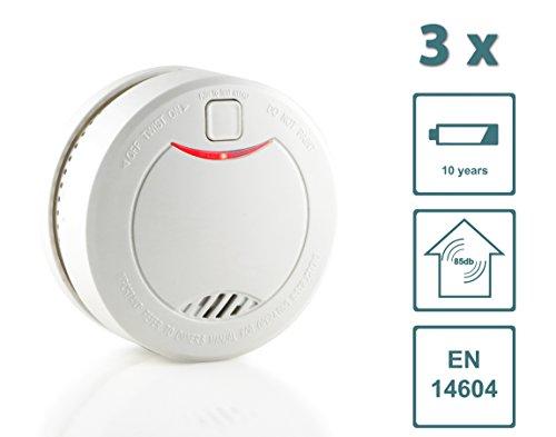 Slabo Detector de Humo/Detector de Incendios/Detector de Incendios con batería de 10 años y Sensor fotoeléctrico - Blanco - 3 Unidad