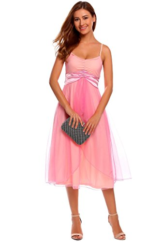 Meaneor Damen Midi Asymmetrische Ballkleider Abendkleid Chiffon Casual Kleid mit Spaghetti-Träger