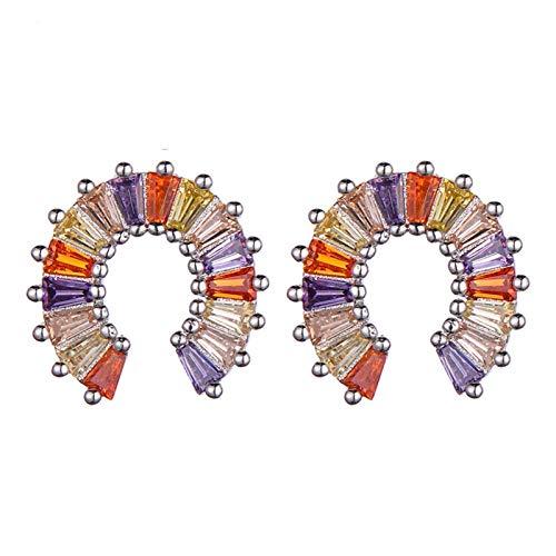 chushi Fashion Women's Forma En Forma De U Zirconia Pendientes De Cristal Princesa De Las Mujeres Corte Herradura Pendientes Pendientes Joyería Zzib (Color : Silver)