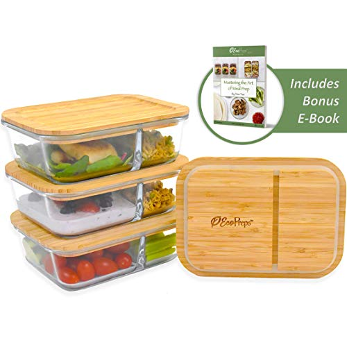 ECOPREPS Glass Meal Prep Containers with Bamboo Lids 》The Most Eco-Friendly Lunch Box Container in the World 》100% Plastic-Free, Reusable Bento Food Storage for Portion Control【2 Compartment, 3 Pack】