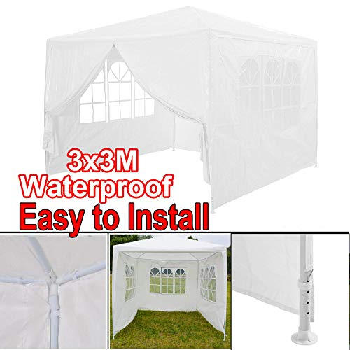 Gazebo 3x4m, 4 Side Walls, Metal Frame, PE Tarp, Windows, Enclosed Festival Marquee Party Canopy Tent or Event Carport Garage Shelter, White,Heavy Duty Steel Frame Waterproof Rot Resistant