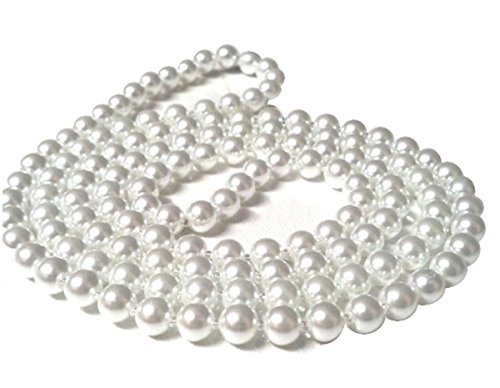New Ladies Girls Plastic Pearl Bead White Necklace 48 inch Flapper (White)
