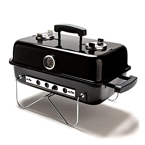 Barbacoa Portatil Carbon - BBQ Plegable Con Tapa para Cocción Rápida o Lenta- Acero Vitrificado, Para Jardin, Balcon, Mesa, Camping