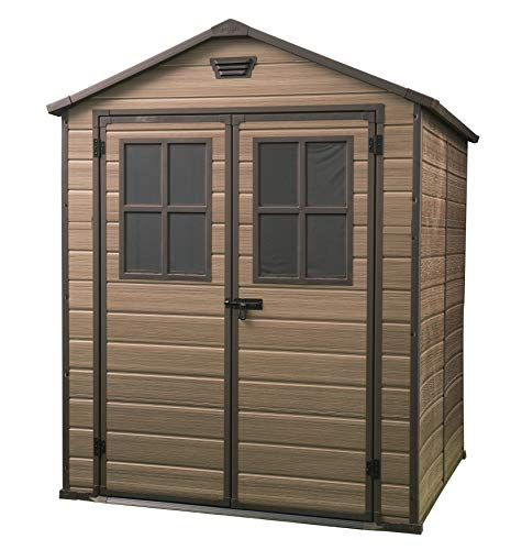 Keter Scala Outdoor Plastic Garden Storage Shed, Brown, 6 x 8 ft