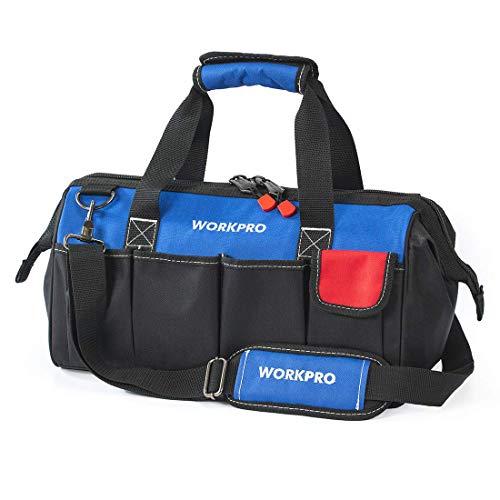 WORKPRO Werkzeugtasche mit verstellbarem Schultergurt und weiter Reißverschluss-Öffnung (45X20X26CM) 18 inch