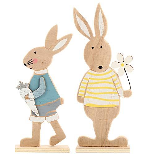 NUOBESTY 2 Piezas de Estatuillas de Conejito de Pascua Escultura de Madera de Conejo Escultura de Escritorio de Pascua Decoración Fiesta Favor Regalo para La Oficina en Casa