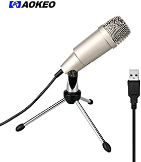 Aokeo AK-2 USB Microphone, Plug & Play Home Studio USB Condenser Microphone for Skype, Video Chats, Recordings for YouTube, Google Voice Search, Gaming