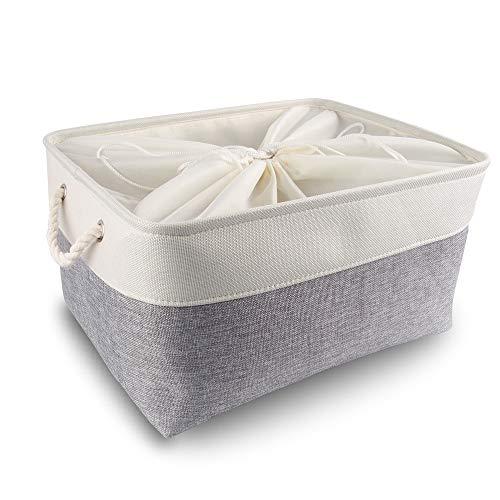 Mangata Caja de Almacenamiento Ropa, cestas de almacenaje Tela, Plegable Cajas organizadoras para Juguetes, armarios (Extra Grande, Gris Blanco)