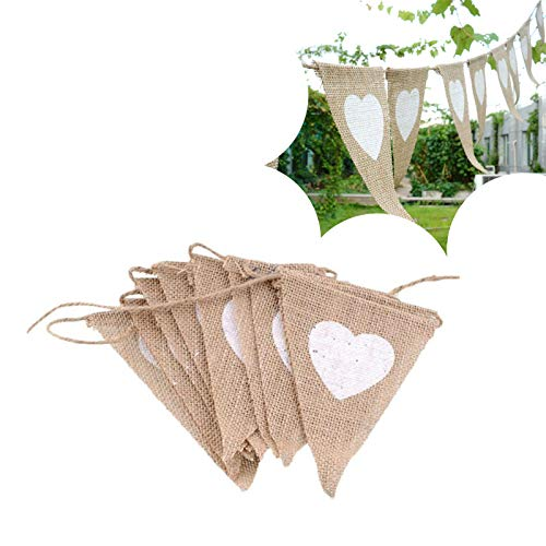 13-Piece Linen Pennant Set Heart Wedding Decoration, Vintage Fabric Hessian Bunting, 2.5m Hessian Flag Banner Jute Pennant for Parties, Birthday Party, Signature Table Decoration