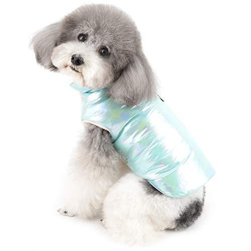 Ranphy Chaleco de invierno para mascotas con cuello alto y forro polar cálido acolchado para cachorro, chaqueta de plumón para gatito, a la moda, resistente al viento traje de nieve para el clima frío