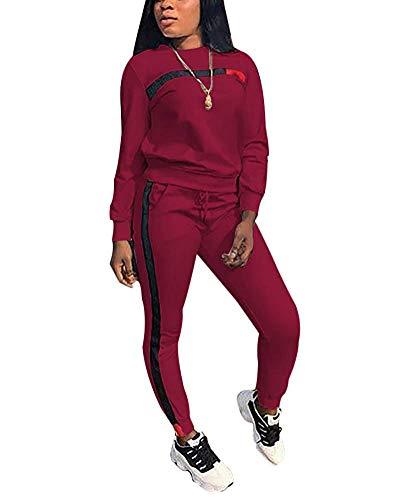 Chic to Max Damen-Trainingsanzug-Set, 2-teilig, Übergröße, Sport-Outfit, langärmeliges Oberteil und figurbetonte Hose, Jogginganzug, Sweatsuits für Frauen Gr. 46, A* Weinrot