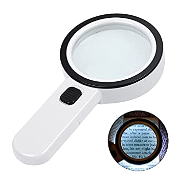 Magnifying Glass with Light 30X Handheld Large Magnifying Glass 12 LED Illuminated Lighted Magnifier for Macular Degeneration Seniors Reading Soldering Inspection Coins Jewelry Exploring White