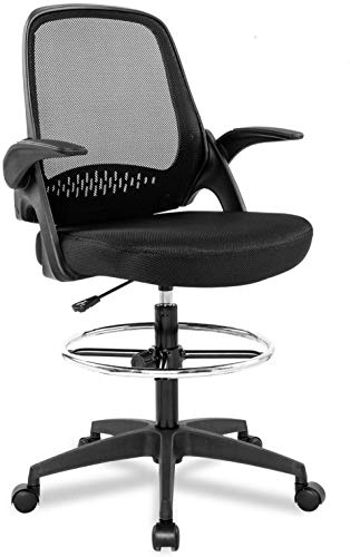 Mesh Drafting Stool Chair, Ergonomic Mid-Back Chair w/Lumbar Support Flip-Up Arms Adjustable Height Footrest, Tall Standing Swivel Office Chair Counter Chair with Gravity Lockable Wheel for Reception
