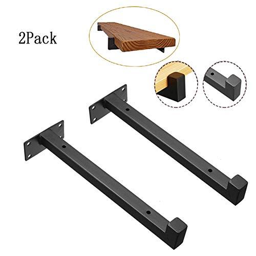 Set van 2 drijvende plankhouders, wandmontage, industriële ijzeren buizen, rekhouders, high-performance doe-het-zelf wandplank, houten planken, ondersteunt zwart 400mm(15.7'')