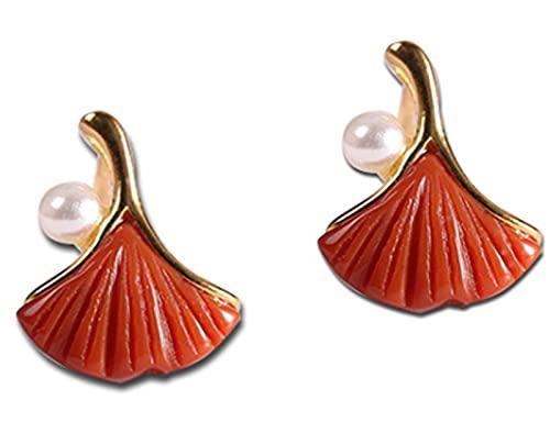 CHXISHOP Pendientes Plateados de Plata de Ley 925 de la Mujer, ágata roja y Pendientes de Ginkgo, Pendientes de Moda y Simples, Regalos de joyería