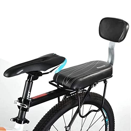 Asiento de bicicleta de cuero bicicleta asiento trasero cojín niño bicicleta trasero cubierta asiento sillín con espalda, con patrón de línea, negro, 37 cm × 16 cm × 25 cm accesorios para bicicletas R