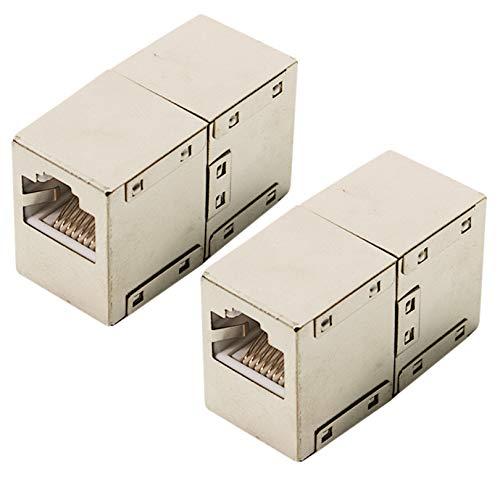 odedo® 2er Set CAT 6 RJ45 LAN Verbinder Netzwerk Kabel geschirmt Metall Patch Kupplung Cat6 Inline-Coupler STP