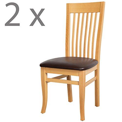 Schwarzwald Massivholz Esszimmerstuhl ST05 Toskana mit Sitzpolster belastbar bis 150 kg Gastro Qualität in Wenge, Nussbaum oder Buche (2 Stühle, Buche Naturlackiert/Braun)