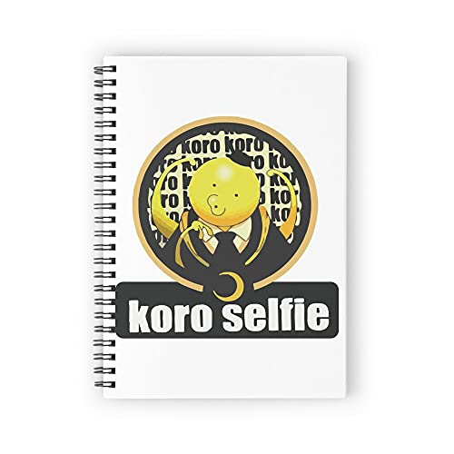 """Assassination classroom Koro sensei selfie artwork Spiral Notebooks, 5.5"""" X 8.3"""", Strong Twin-Wire Binding, Premium Paper, 80 Sheets / 160 pages Perfect for School, Office & Home"""