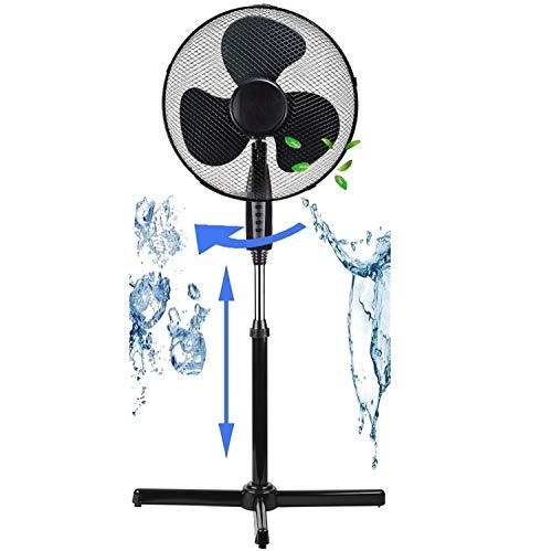 Standventilator Ø41 cm | 40 Watt | 3 Stufen | Oszillierend | Leiser Betrieb | Ventilator | 180° Rotation | Turmventilator | Luftkühler | Bodenventilator