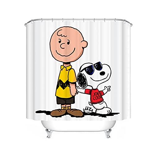 Fgolphd Snoopy Duschvorhang 120x200 180x200180x180 200x240 Textil Bunt Pink Blau Cartoon,3D-Druck 100prozent Polyester,Shower CurtainsWasserdicht (180 x 200 cm,4)