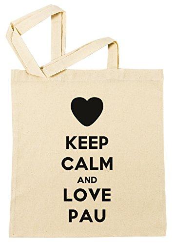 Keep Calm And Love Pau Bolsa De Compras Playa De Algodón Reutilizable Shopping Bag Beach