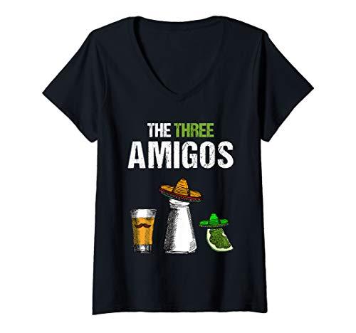Damen The Three Amigos | Lustiges Bier Tequila Schnaps Malle Party T-Shirt mit V-Ausschnitt