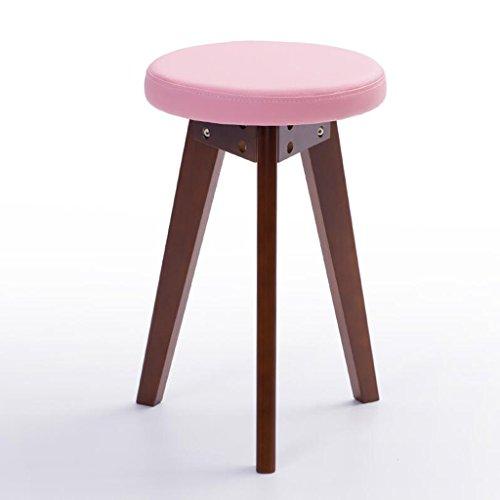 Rollsnownow Idées de mode petit banc coussin rose Tabouret de retour maison tabouret rond (Color : Brown wooden frame)