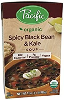 Pacific Foods Organic Soup, Spicy Black Bean and Kale, 17 Ounce (Pack of 12)