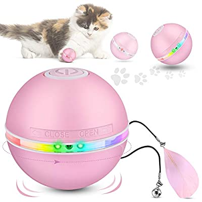DazSpirit Interactive Cat Toys Balls for Indoor Cats, Cat Ball Toy with Led Light, Electric Cat Chase Toy Funny Led Pointer for Kitten, Automatic 360-Degree Rotating, USB Rechargeable, 3 Modes