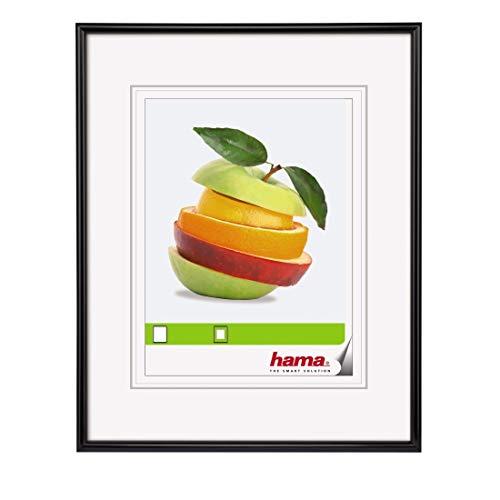 Hama Sevilla Bilderrahmen, 18 x 24 cm mit Papier-Passepartout 10 x 15 cm, hochwertiges Glas, Kunststoff Rahmen, zum Aufhängen und Aufstellen, schwarz