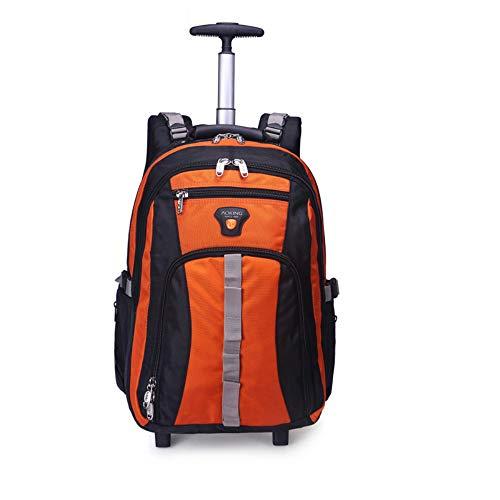 ACCDUER Nylon Impermeabile Zaino di rotolamento, a Ruota Libera Viaggi Wheeled Backpack, Zaino Carry-on Laptop Bag con Zip Anti-furto,Arancia,22''
