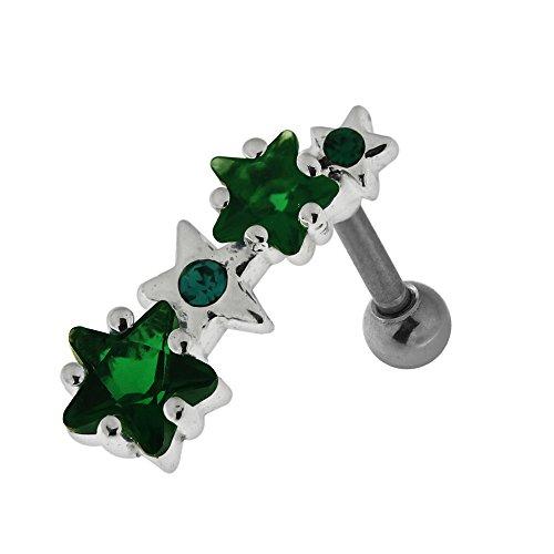 Dunkel Grün CZ Stein Vier Sterne Design 925 Sterling Silber 16 Gauge Tragus Piercing-Schmuck