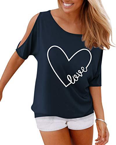 YOINS Damskie topy na zimne ramiona bluzki lato połowa/krótki rękaw T-shirt top codzienne koszule łodzi szyja plisowane guziki tunika topy, Print 01~navy, XL