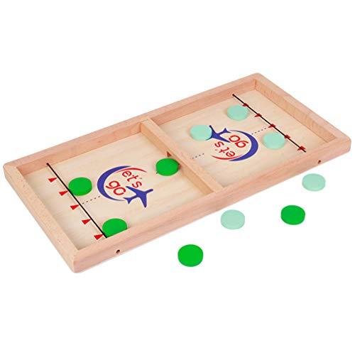 TomaiBaby Foosball Chess Toy 1Pc Juego de Hockey de Madera para Niños Juguete de Ajedrez Táctil Escritorio de Madera Juego de Puck Rápido Juegos de Mesa Portátiles para Niños Y Familias 5Cm