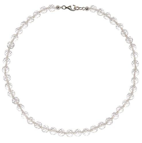 Bergkristall Schmuck (Halskette) Bergkristall Kette Bergkristall Kugeln facettiert Größe ca. 8 mm mit Perlseide geknotet Verschluss 925er Sterling-Silber Modell 280