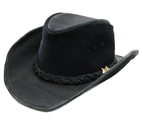 Modestone BC Hat Drover Concho Soft Australian Leather Chapeaux Cowboy Black